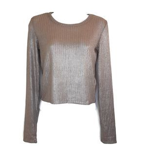 Zara Trf  Bronze Metallic Knit Crop Sweater S